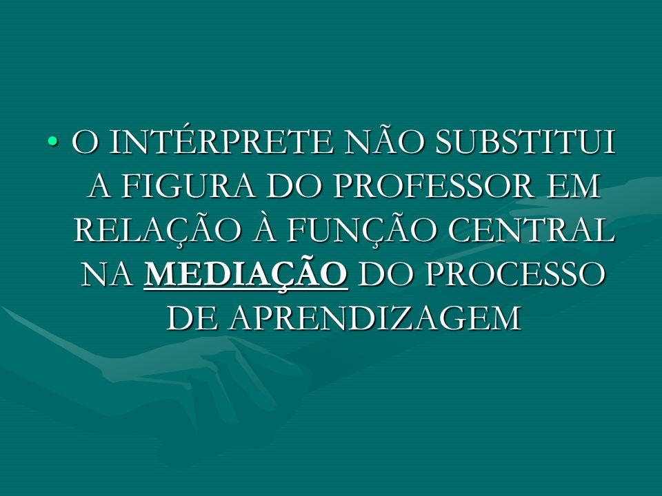 O INTÉRPRETE NÃO SUBSTITUI A FIGURA DO PROFESSOR EM RELAÇÃO À FUNÇÃO CENTRAL NA MEDIAÇÃO DO PROCESSO DE APRENDIZAGEMO INTÉRPRETE NÃO SUBSTITUI A FIGURA DO PROFESSOR EM RELAÇÃO À FUNÇÃO CENTRAL NA MEDIAÇÃO DO PROCESSO DE APRENDIZAGEM