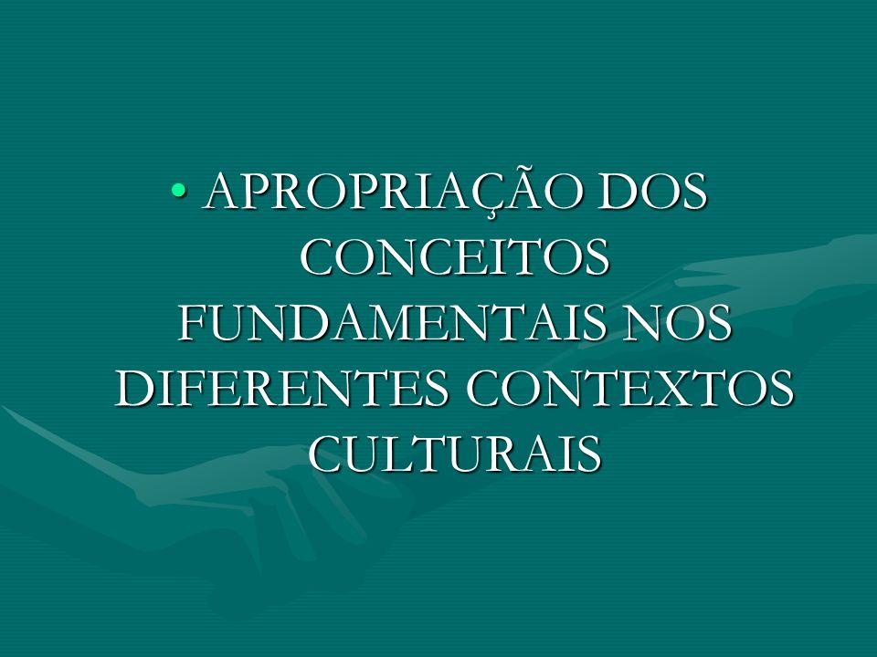 APROPRIAÇÃO DOS CONCEITOS FUNDAMENTAIS NOS DIFERENTES CONTEXTOS CULTURAIS