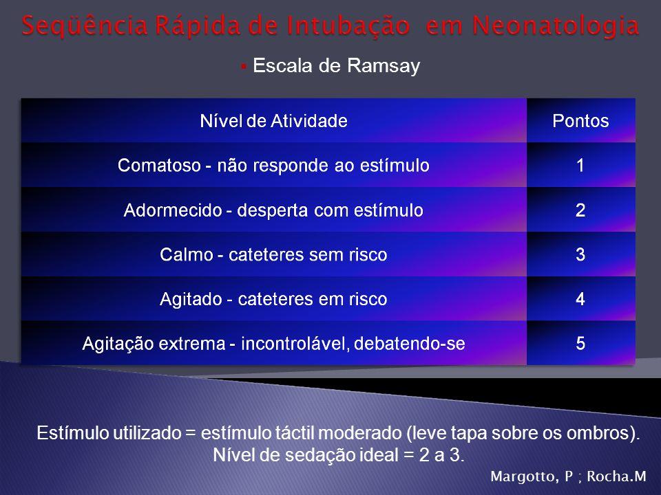 Escala de Ramsay Estímulo utilizado = estímulo táctil moderado (leve tapa sobre os ombros). Nível de sedação ideal = 2 a 3. Margotto, P ; Rocha.M