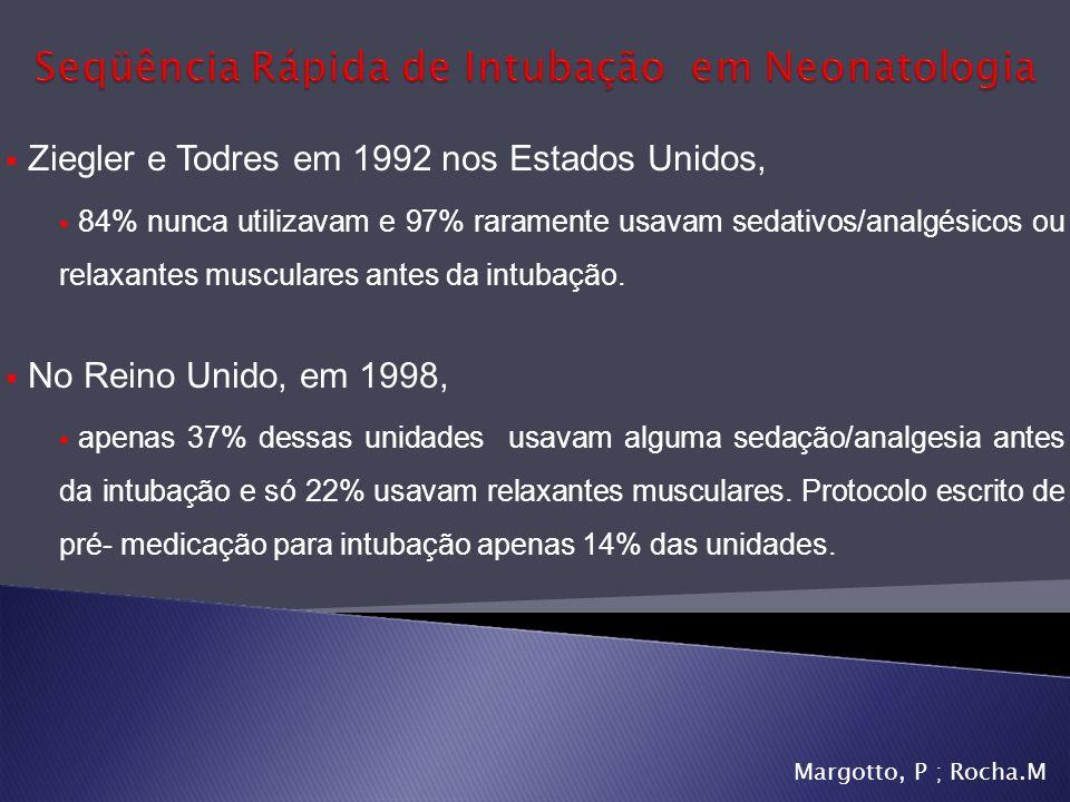 Ziegler e Todres em 1992 nos Estados Unidos, 84% nunca utilizavam e 97% raramente usavam sedativos/analgésicos ou relaxantes musculares antes da intub