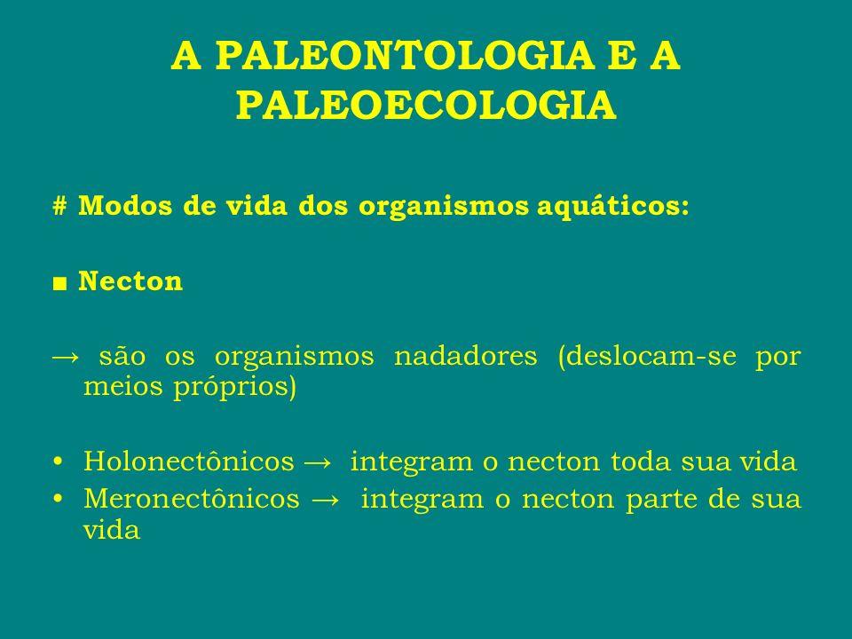 A PALEONTOLOGIA E A PALEOECOLOGIA # Modos de vida dos organismos aquáticos: Necton são os organismos nadadores (deslocam-se por meios próprios) Holone