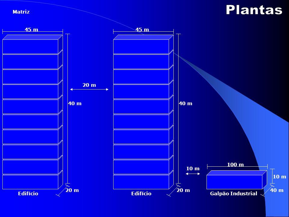 Edifício 45 m 20 m 40 m 45 m 40 m 20 m Galpão Industrial 100 m 10 m 40 m 10 m Matriz