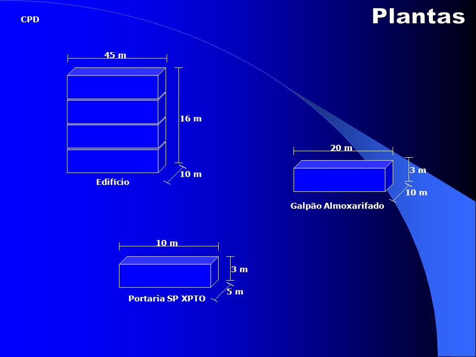 Galpão Almoxarifado Edifício Portaria SP XPTO 45 m 20 m 10 m 3 m 5 m 3 m 10 m 16 m 10 m CPD