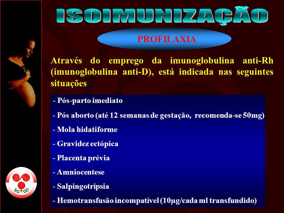 PROFILAXIA Através do emprego da imunoglobulina anti-Rh (imunoglobulina anti-D), está indicada nas seguintes situações - Pós-parto imediato - Pós abor