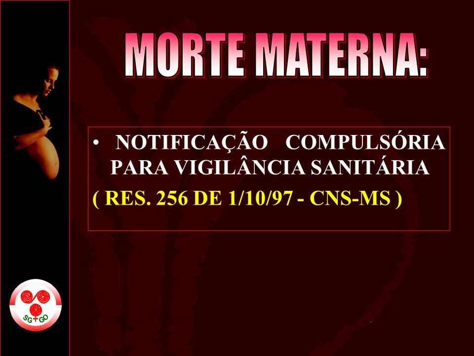 NOTIFICAÇÃO COMPULSÓRIA PARA VIGILÂNCIA SANITÁRIA ( RES. 256 DE 1/10/97 - CNS-MS )