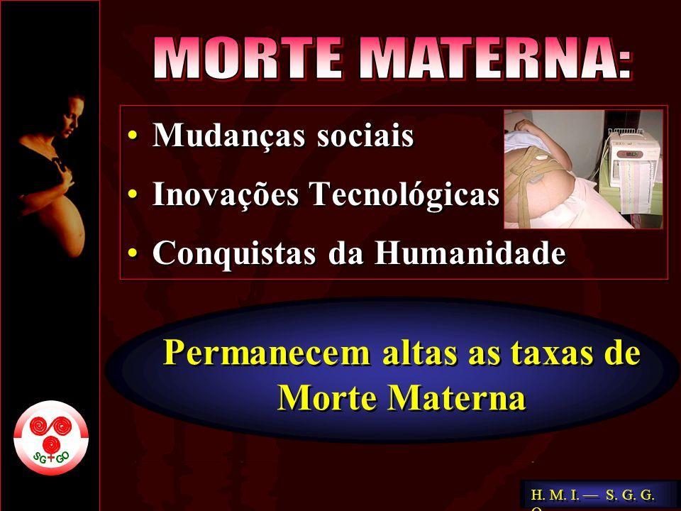 H. M. I. S. G. G. O. Permanecem altas as taxas de Morte Materna Permanecem altas as taxas de Morte Materna Mudanças sociais Inovações Tecnológicas Con