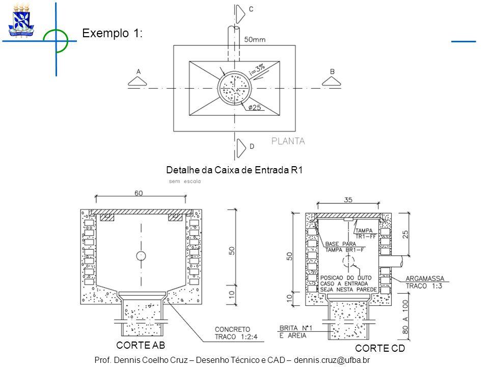 Detalhe da Caixa de Entrada R1 CORTE AB CORTE CD Exemplo 1: