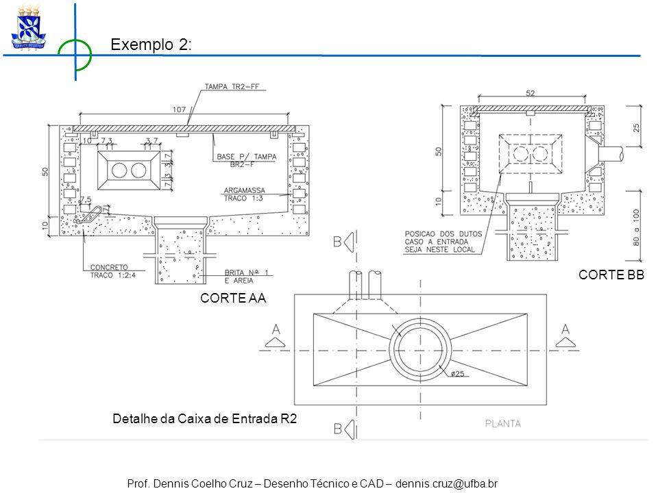 Prof. Dennis Coelho Cruz – Desenho Técnico e CAD – dennis.cruz@ufba.br Detalhe da Caixa de Entrada R2 CORTE AA CORTE BB Exemplo 2: