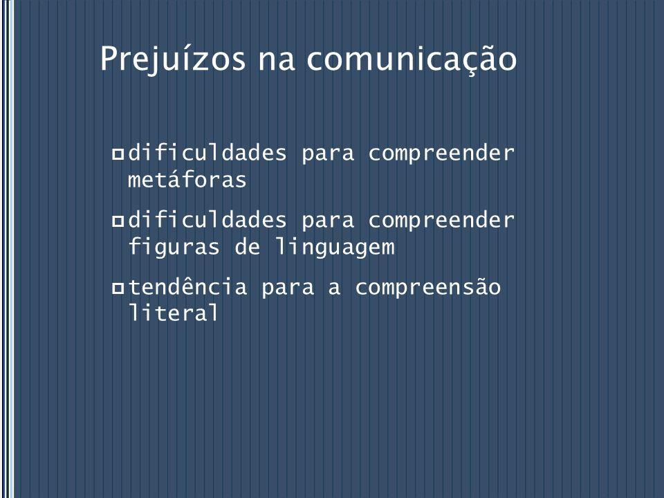 Prejuízos na comunicação dificuldades para compreender metáforas dificuldades para compreender figuras de linguagem tendência para a compreensão liter