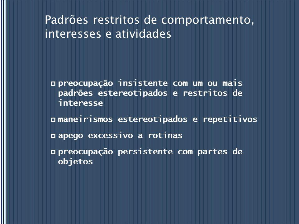 Padrões restritos de comportamento, interesses e atividades preocupação insistente com um ou mais padrões estereotipados e restritos de interesse mane