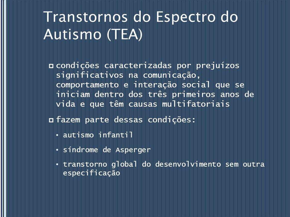 Transtornos do Espectro do Autismo (TEA) condições caracterizadas por prejuízos significativos na comunicação, comportamento e interação social que se
