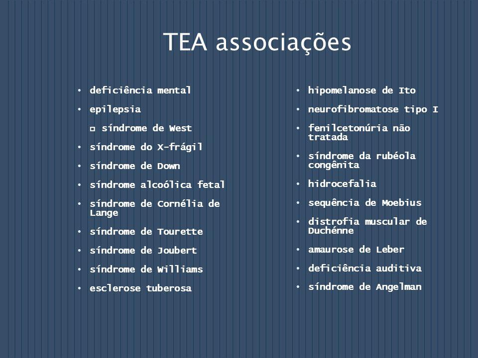 TEA associações deficiência mental epilepsia síndrome de West síndrome do X-frágil síndrome de Down síndrome alcoólica fetal síndrome de Cornélia de L