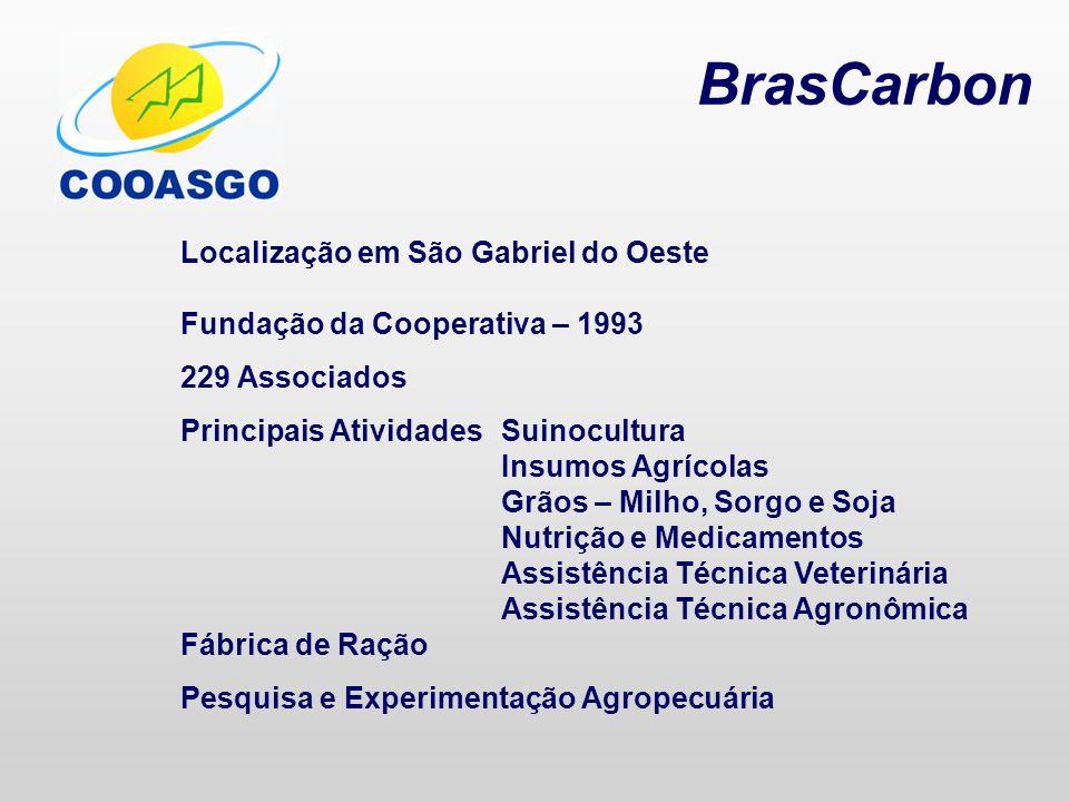 BrasCarbon Localização em São Gabriel do Oeste Fundação da Cooperativa – 1993 229 Associados Principais AtividadesSuinocultura Insumos Agrícolas Grãos