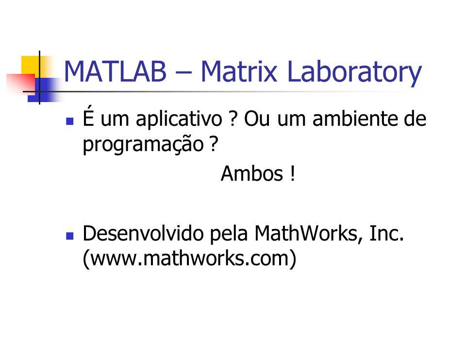 MATLAB – Matrix Laboratory É um aplicativo ? Ou um ambiente de programação ? Ambos ! Desenvolvido pela MathWorks, Inc. (www.mathworks.com)