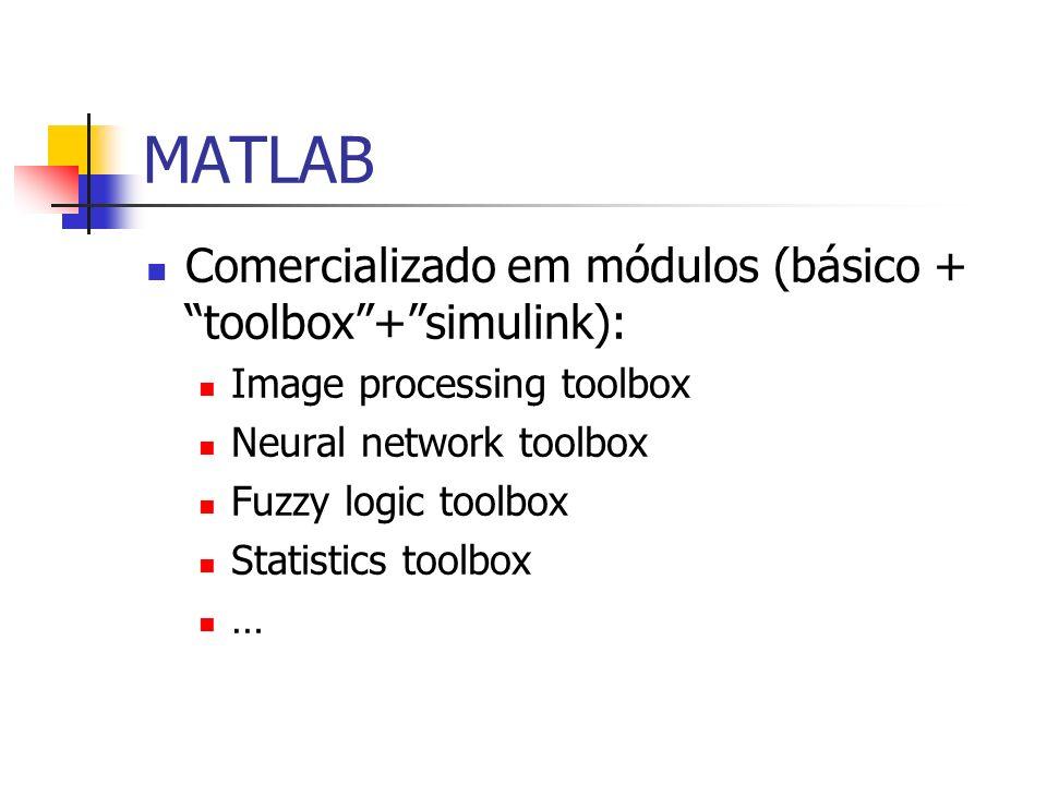 MATLAB Comercializado em módulos (básico + toolbox+simulink): Image processing toolbox Neural network toolbox Fuzzy logic toolbox Statistics toolbox …