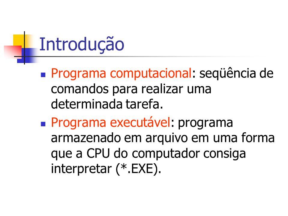Introdução Programa computacional: seqüência de comandos para realizar uma determinada tarefa. Programa executável: programa armazenado em arquivo em