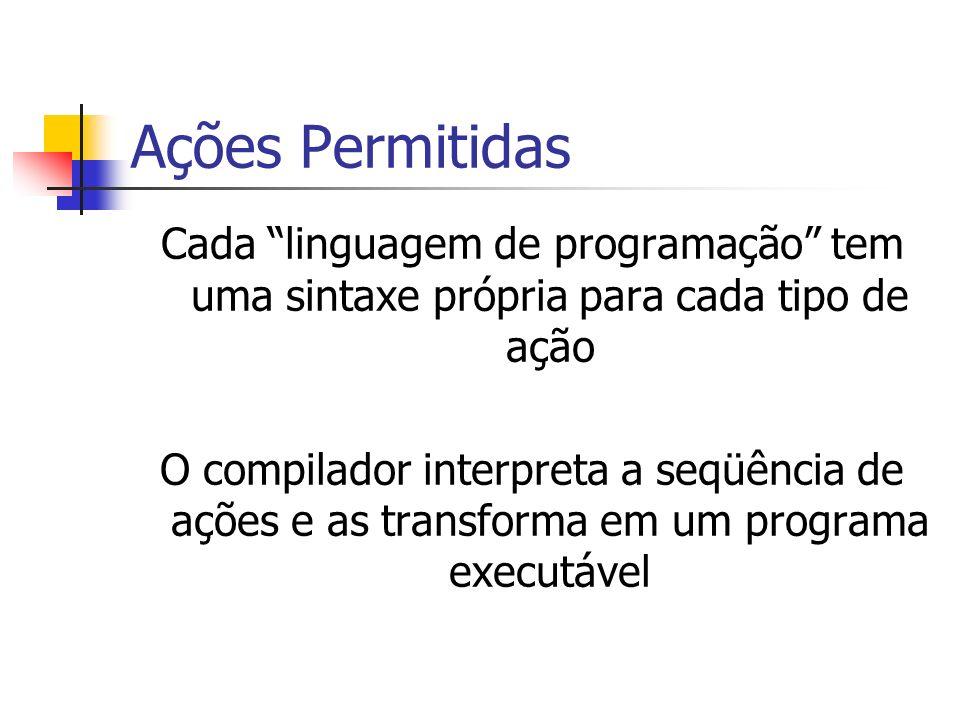 Ações Permitidas Cada linguagem de programação tem uma sintaxe própria para cada tipo de ação O compilador interpreta a seqüência de ações e as transf