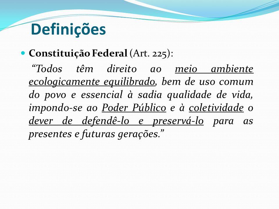 Definições Meio Ambiente (Lei n6938/81 – PNMA): É o conjunto de condições, leis, influências e interações de ordem física, química e biológica, que permite, abriga e rege a vida em todas as suas formas.