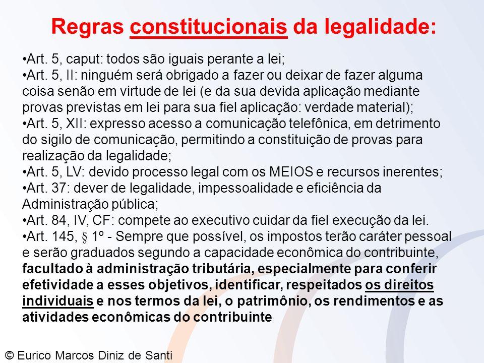 © Eurico Marcos Diniz de Santi Regras constitucionais da legalidade: Art. 5, caput: todos são iguais perante a lei; Art. 5, II: ninguém será obrigado