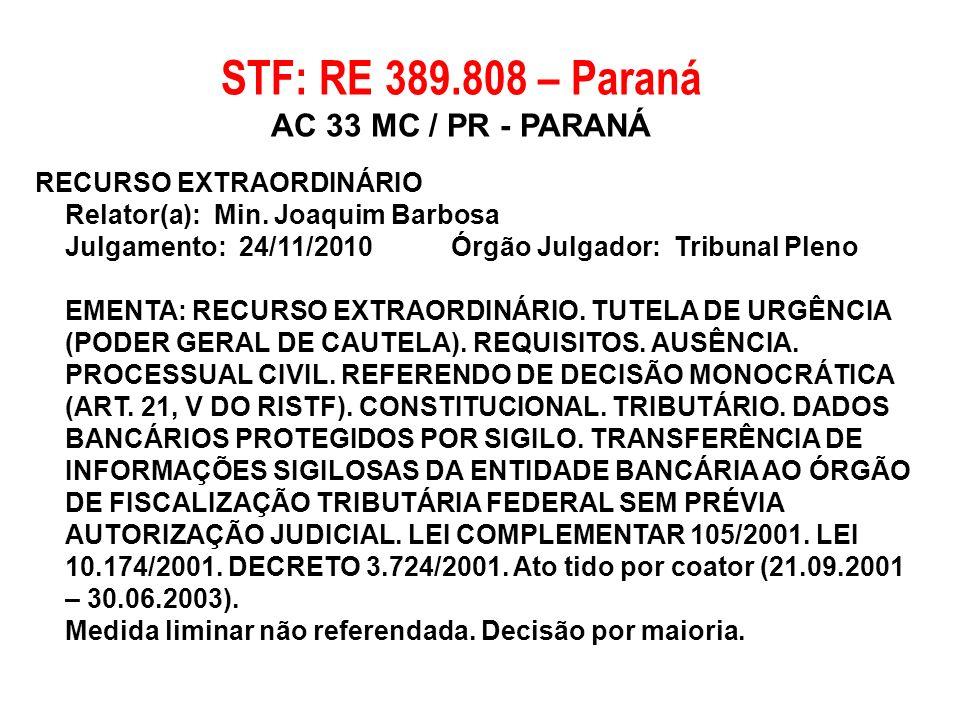 RECURSO EXTRAORDINÁRIO Relator(a): Min. Joaquim Barbosa Julgamento: 24/11/2010 Órgão Julgador: Tribunal Pleno EMENTA: RECURSO EXTRAORDINÁRIO. TUTELA D
