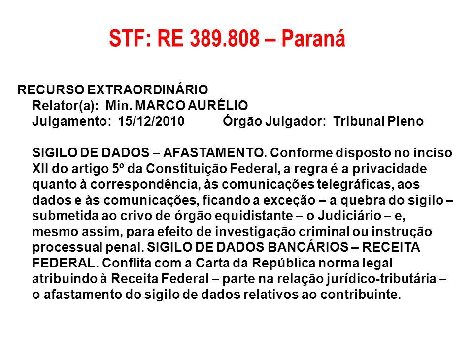 RECURSO EXTRAORDINÁRIO Relator(a): Min. MARCO AURÉLIO Julgamento: 15/12/2010 Órgão Julgador: Tribunal Pleno SIGILO DE DADOS – AFASTAMENTO. Conforme di