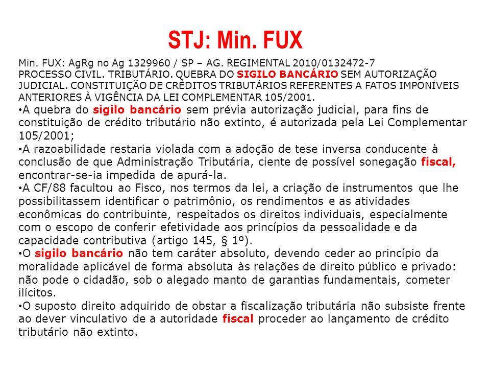 Min. FUX: AgRg no Ag 1329960 / SP – AG. REGIMENTAL 2010/0132472-7 PROCESSO CIVIL. TRIBUTÁRIO. QUEBRA DO SIGILO BANCÁRIO SEM AUTORIZAÇÃO JUDICIAL. CONS