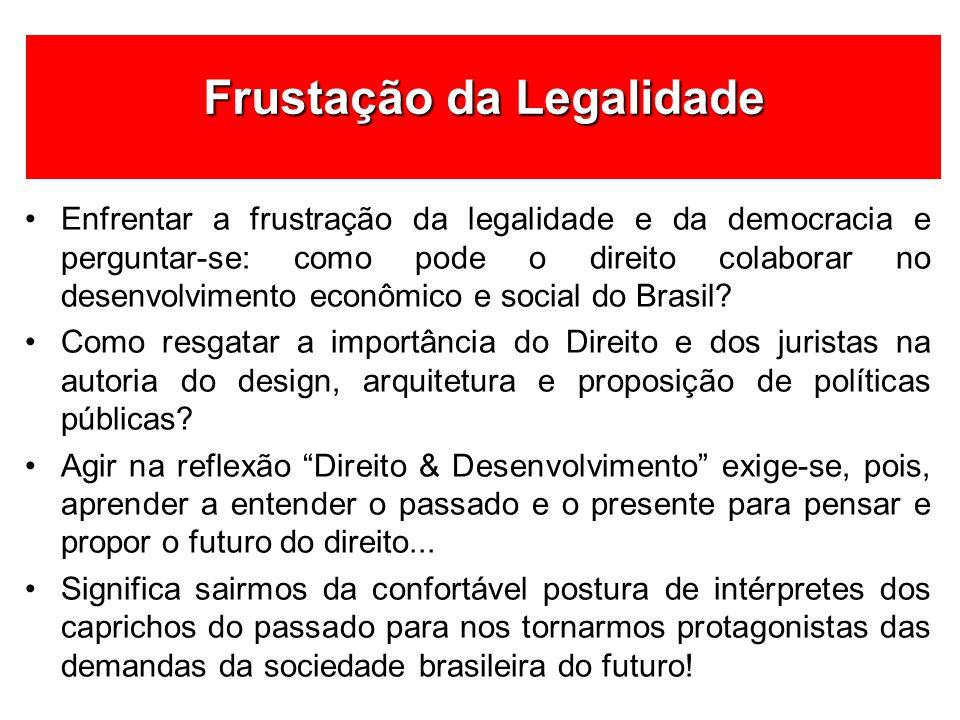 Enfrentar a frustração da legalidade e da democracia e perguntar-se: como pode o direito colaborar no desenvolvimento econômico e social do Brasil? Co