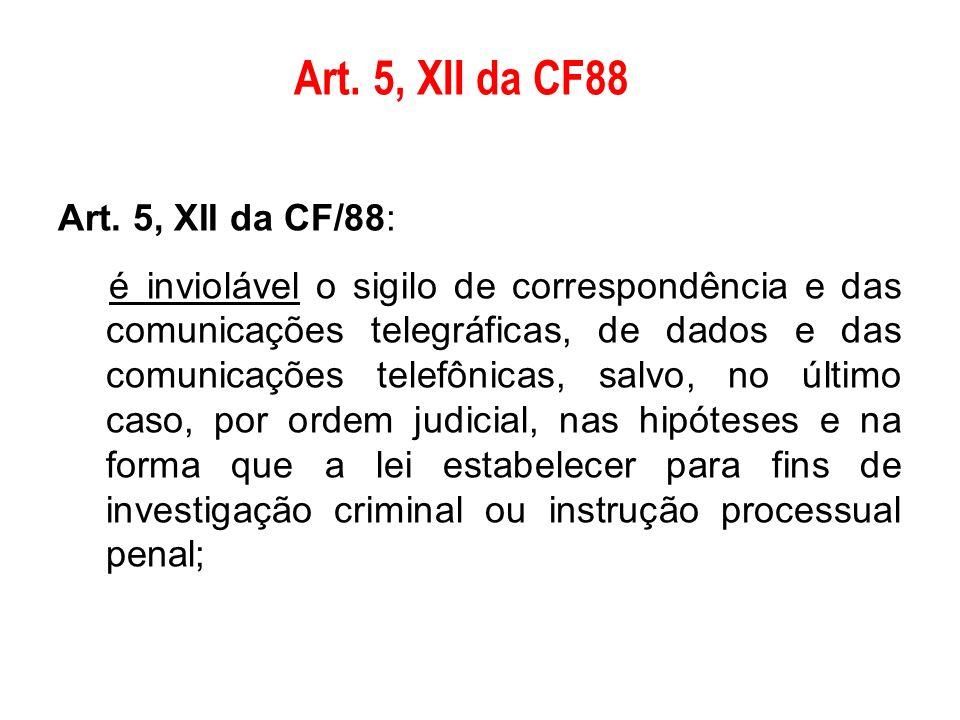 Art. 5, XII da CF/88: é inviolável o sigilo de correspondência e das comunicações telegráficas, de dados e das comunicações telefônicas, salvo, no últ