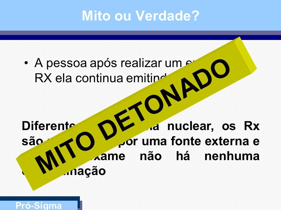 Pró-Sigma Mito ou Verdade? Quando disparamos o Aparelho de RX a radiação continua na sala durante um período de tempo... Os Raios X são ondas eletroma