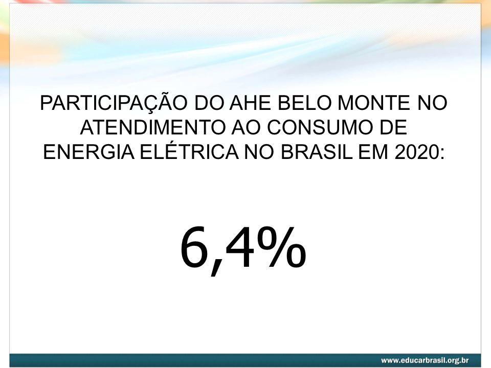 PARTICIPAÇÃO DO AHE BELO MONTE NO ATENDIMENTO AO CONSUMO DE ENERGIA ELÉTRICA NO BRASIL EM 2020: 6,4%