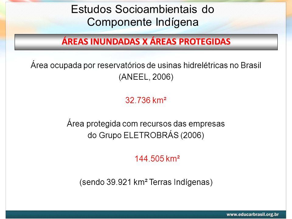 ÁREAS INUNDADAS X ÁREAS PROTEGIDAS Área ocupada por reservatórios de usinas hidrelétricas no Brasil (ANEEL, 2006) 32.736 km² Área protegida com recurs