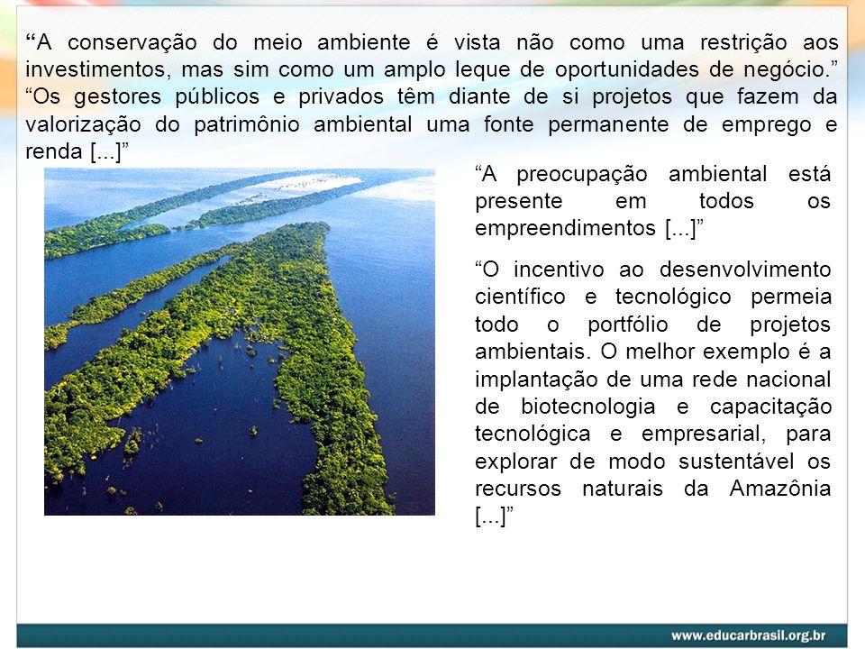 A conservação do meio ambiente é vista não como uma restrição aos investimentos, mas sim como um amplo leque de oportunidades de negócio. Os gestores