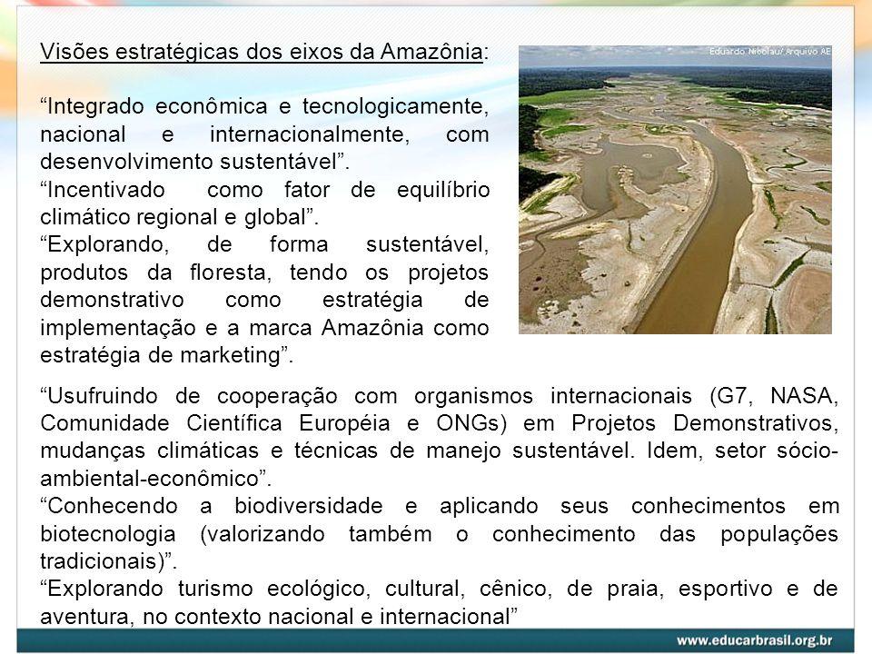 O espaço do desenvolvimento inovador nos eixos da Amazônia A exploração sustentável de produtos da floresta, o ecoturismo e a biotecnologia somam-se à agropecuária, à agroindústria, à indústria, à exploração mineral e aos serviços, constituindo a base do desenvolvimento dos Eixos Arco Norte e Madeira - Amazonas.