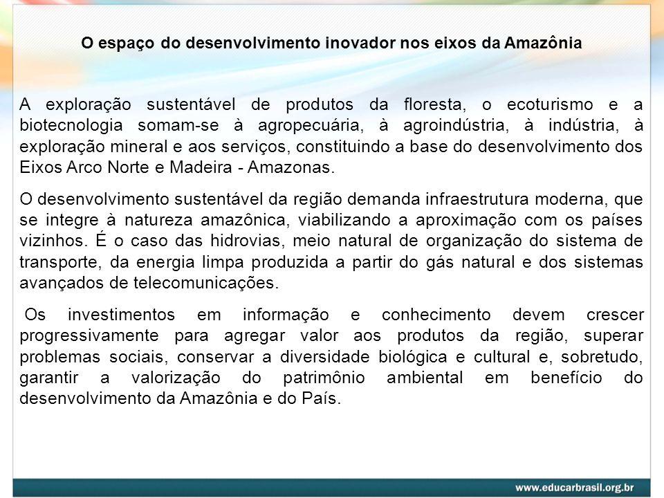 O espaço do desenvolvimento inovador nos eixos da Amazônia A exploração sustentável de produtos da floresta, o ecoturismo e a biotecnologia somam-se à