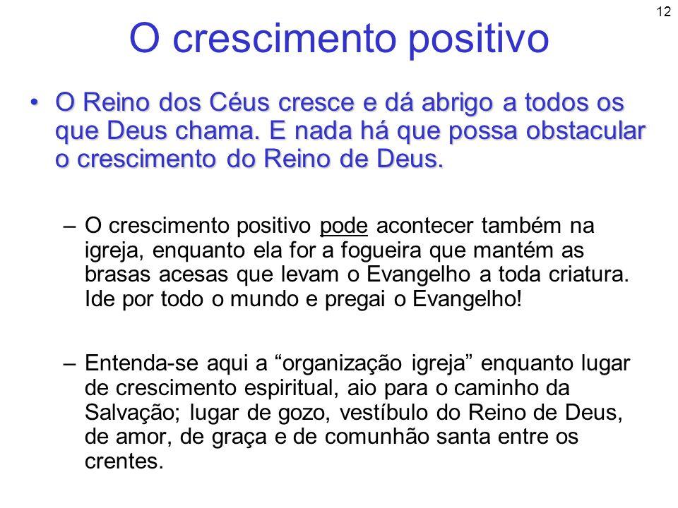 12 O crescimento positivo O Reino dos Céus cresce e dá abrigo a todos os que Deus chama. E nada há que possa obstacular o crescimento do Reino de Deus
