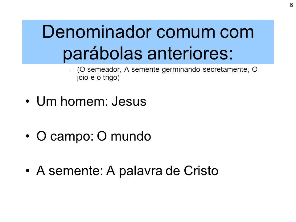 6 Denominador comum com parábolas anteriores: –(O semeador, A semente germinando secretamente, O joio e o trigo) Um homem: Jesus O campo: O mundo A se