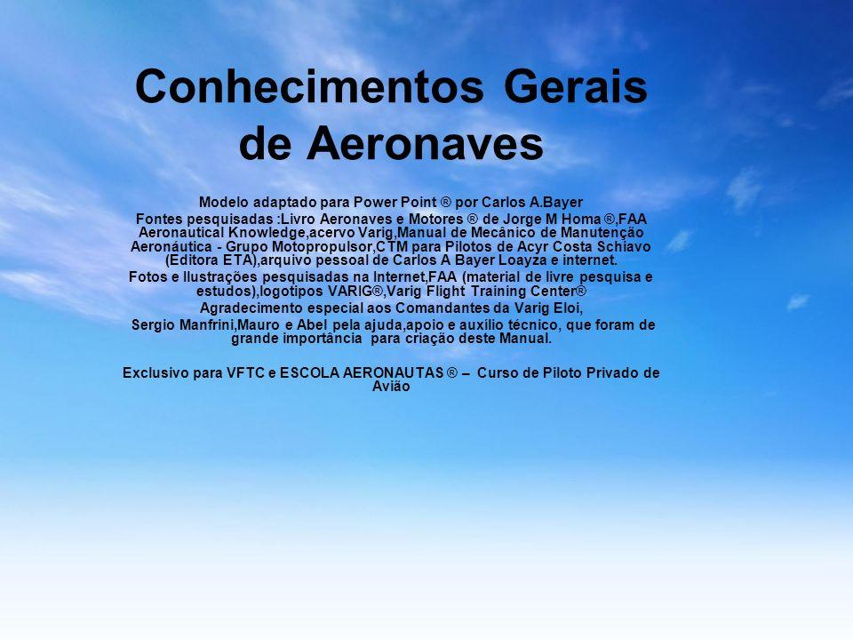 Conhecimentos Gerais de Aeronaves Modelo adaptado para Power Point ® por Carlos A.Bayer Fontes pesquisadas :Livro Aeronaves e Motores ® de Jorge M Hom