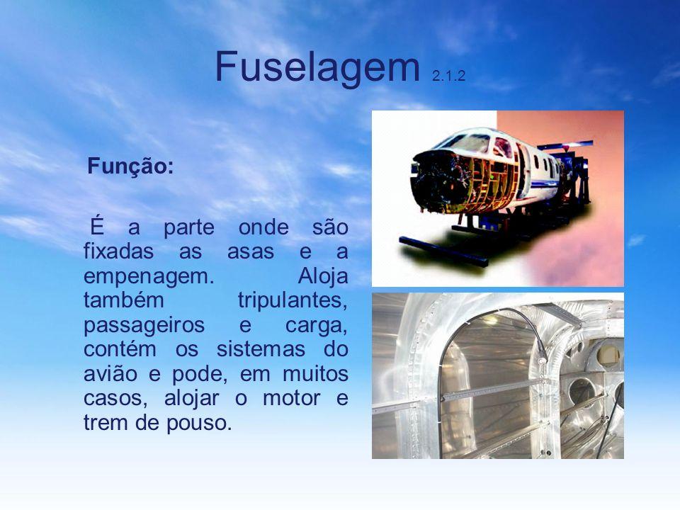 Fuselagem 2.1.2 Função: É a parte onde são fixadas as asas e a empenagem. Aloja também tripulantes, passageiros e carga, contém os sistemas do avião e