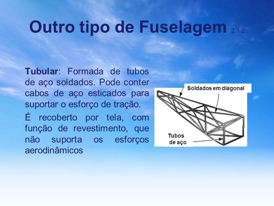 Outro tipo de Fuselagem 2.1.2 Tubular: Formada de tubos de aço soldados. Pode conter cabos de aço esticados para suportar o esforço de tração. É recob