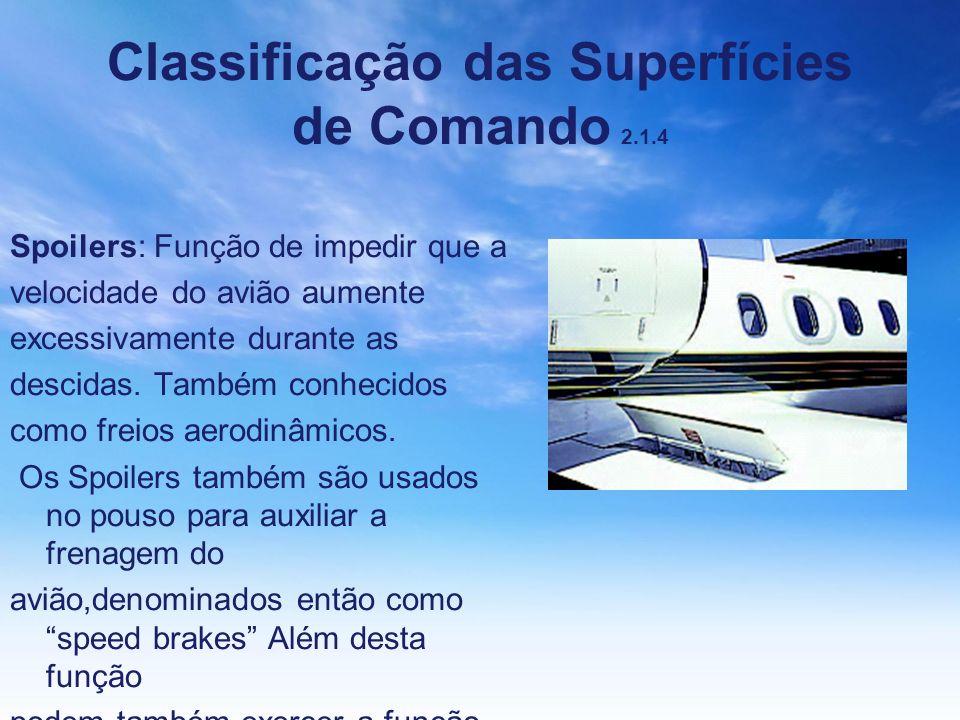Classificação das Superfícies de Comando 2.1.4 Spoilers: Função de impedir que a velocidade do avião aumente excessivamente durante as descidas. També