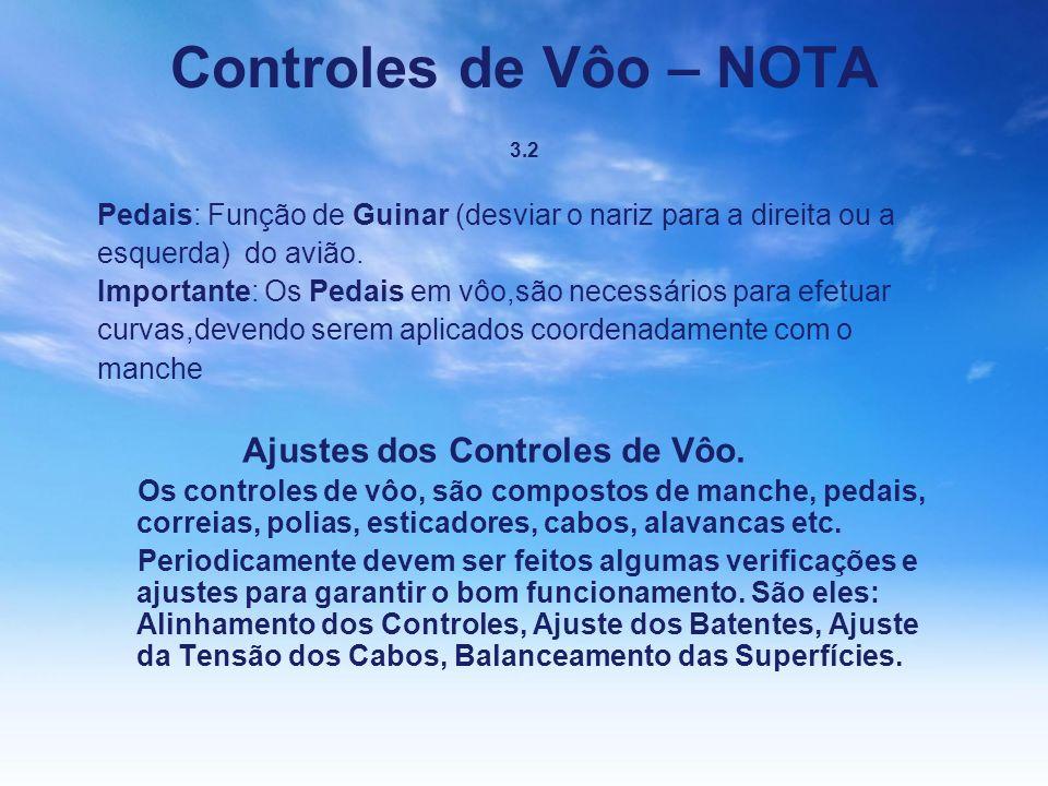 Controles de Vôo – NOTA 3.2 Pedais: Função de Guinar (desviar o nariz para a direita ou a esquerda) do avião. Importante: Os Pedais em vôo,são necessá