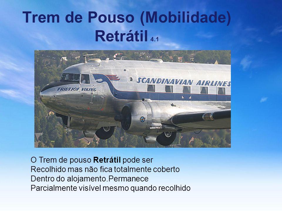 Trem de Pouso (Mobilidade) Retrátil 4.1 O Trem de pouso Retrátil pode ser Recolhido mas não fica totalmente coberto Dentro do alojamento.Permanece Par