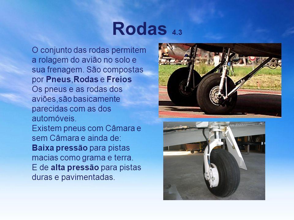Rodas 4.3 O conjunto das rodas permitem a rolagem do avião no solo e sua frenagem. São compostas por Pneus,Rodas e Freios Os pneus e as rodas dos aviõ