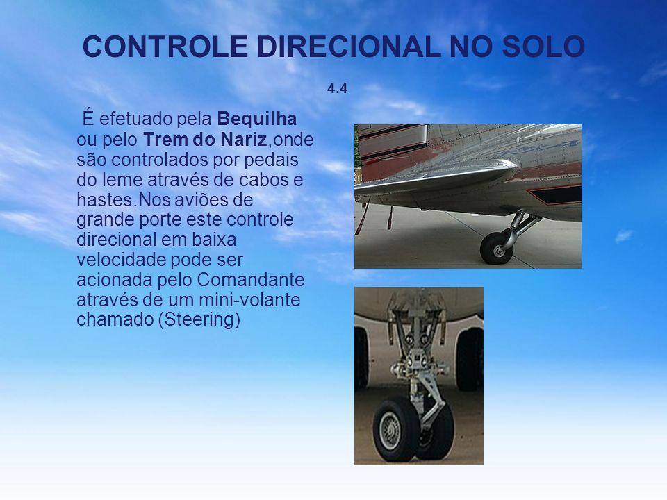 CONTROLE DIRECIONAL NO SOLO 4.4 É efetuado pela Bequilha ou pelo Trem do Nariz,onde são controlados por pedais do leme através de cabos e hastes.Nos a
