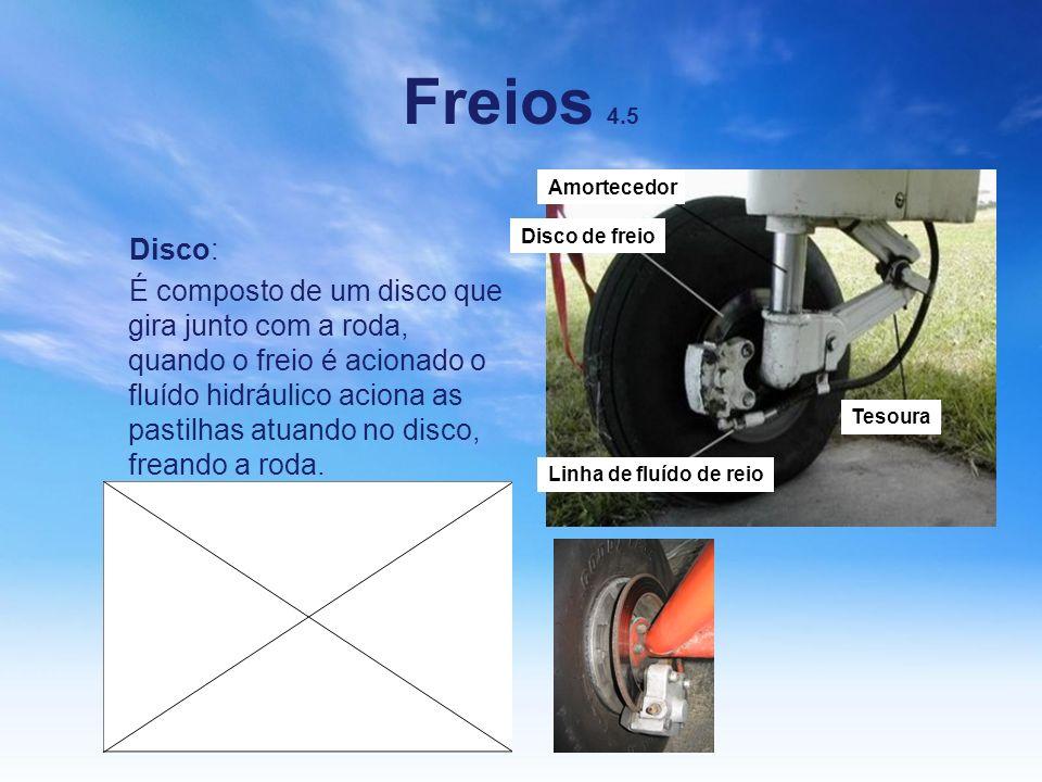 Freios 4.5 Disco: É composto de um disco que gira junto com a roda, quando o freio é acionado o fluído hidráulico aciona as pastilhas atuando no disco