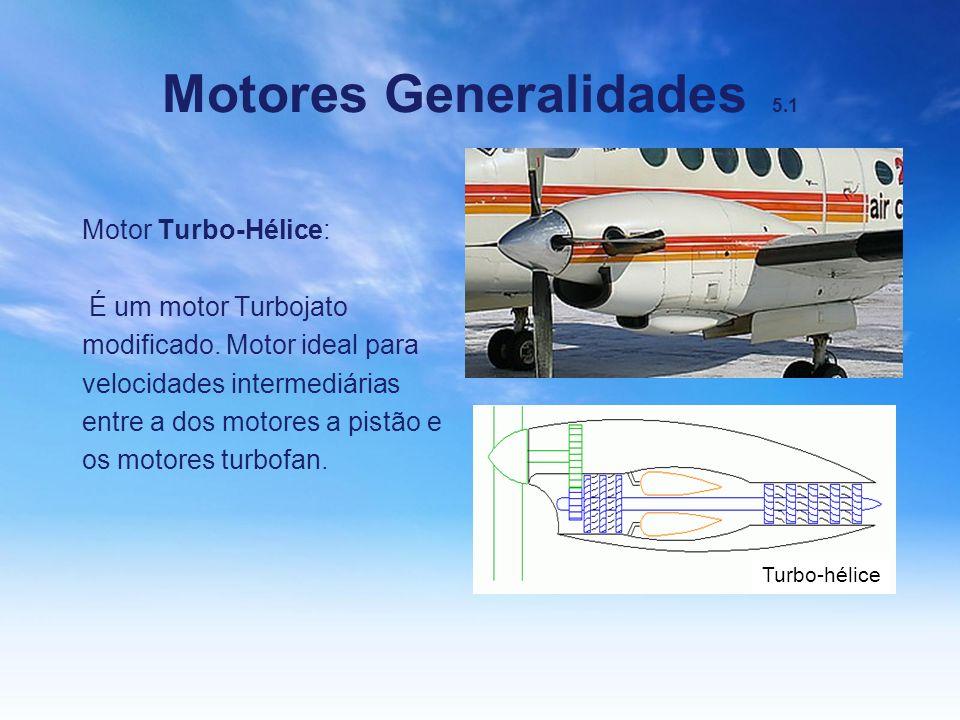 Motores Generalidades 5.1 Motor Turbo-Hélice: É um motor Turbojato modificado. Motor ideal para velocidades intermediárias entre a dos motores a pistã