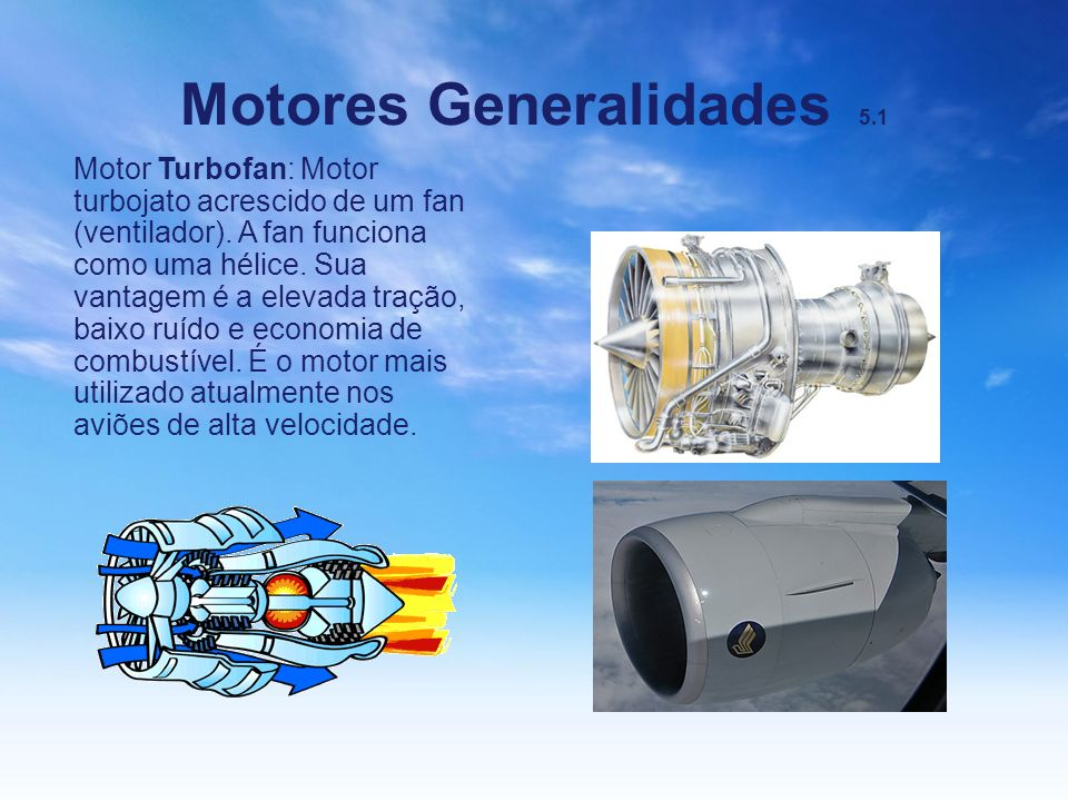 Motores Generalidades 5.1 Motor Turbofan: Motor turbojato acrescido de um fan (ventilador). A fan funciona como uma hélice. Sua vantagem é a elevada t