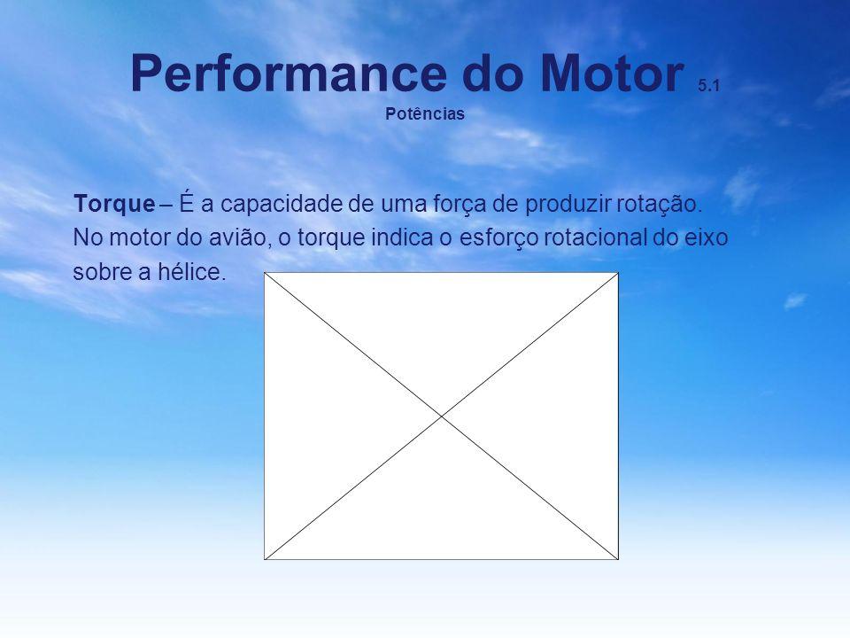 Performance do Motor 5.1 Potências Torque – É a capacidade de uma força de produzir rotação. No motor do avião, o torque indica o esforço rotacional d