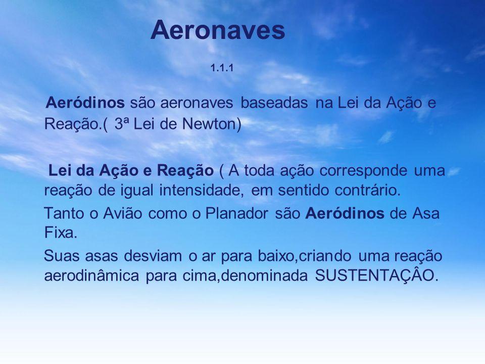 Aeronaves 1.1.1 Aeródinos são aeronaves baseadas na Lei da Ação e Reação.( 3ª Lei de Newton) Lei da Ação e Reação ( A toda ação corresponde uma reação