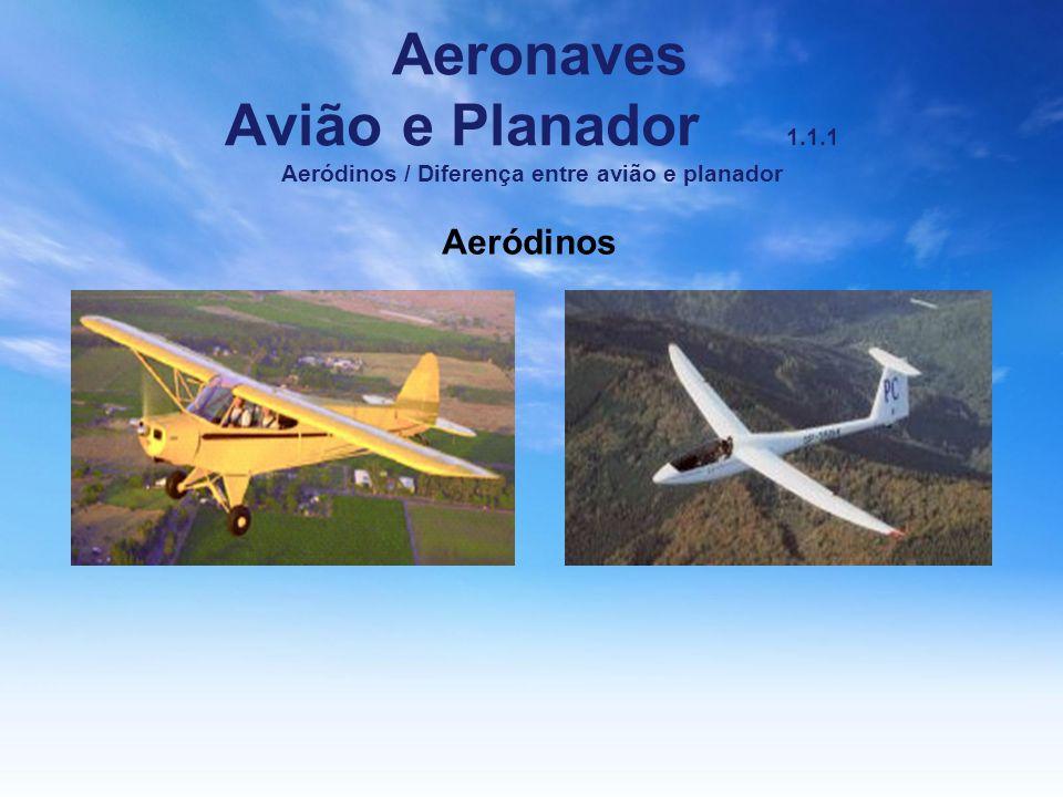 Aeronaves Avião e Planador 1.1.1 Aeródinos / Diferença entre avião e planador Aeródinos